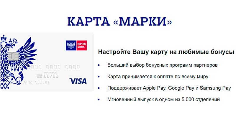 Карта Марки Почта Банк